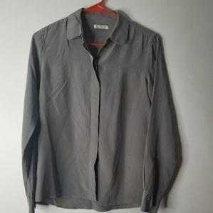 Everlane 100% Silk Gray Rekaxed Blouse size XS